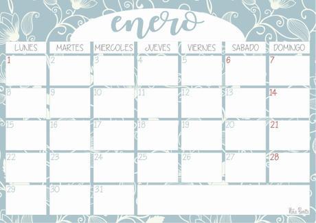 Imprimible: Calendario enero 2018