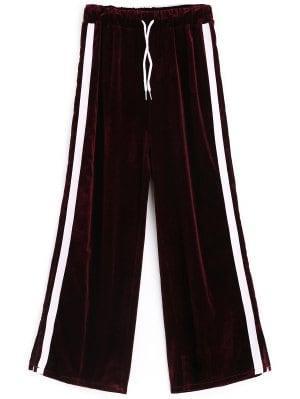 Pantalones De Terciopelo A Rayas Con Abertura Lateral - Rojo Purpúreo