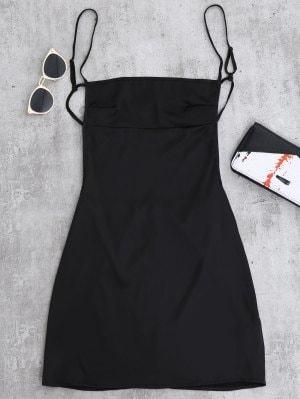 Vestido De Espalda Mini Slip - Negro S