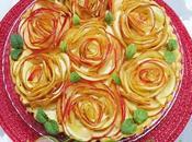 Tarta manzana crema como ramo rosas