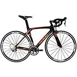 BEIOU® 2016 700C carretera Shimano 105 bicicletas con un cuadro 11S 5800 Bicicleta de carreras T800-M40 fibra de carbono Aero 18.3lbs ultraligeros CB013A-2 (Negro brillante y naranja, 500mm)
