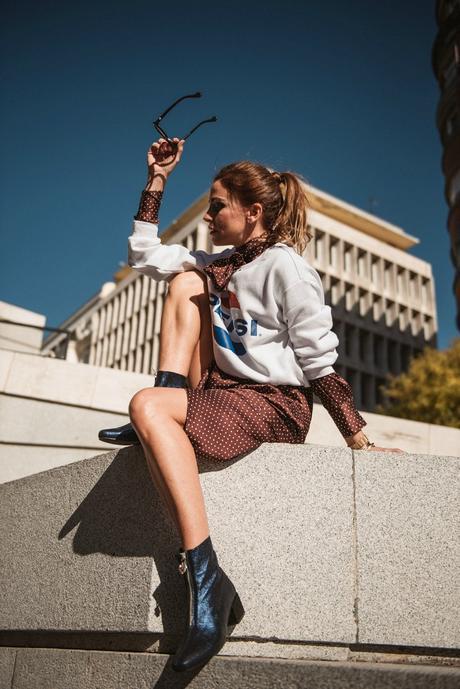 blusa y falda seda de lunares