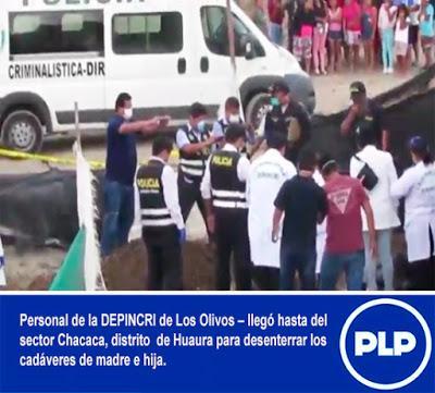 En Huaura: DESENTIERRAN CADÁVERES DE MADRE E HIJA…
