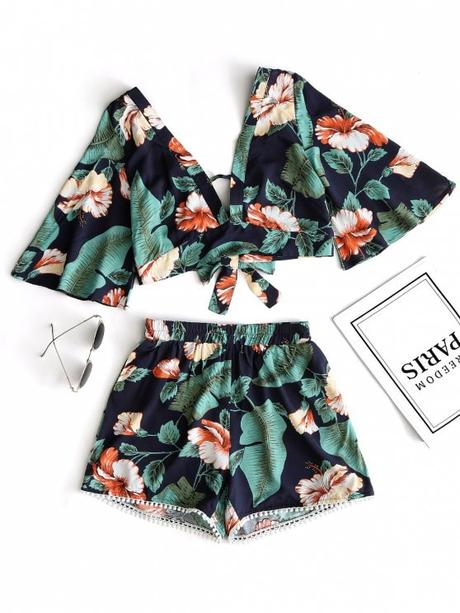 affordable Floral Cropped Top and Lace Trim High Waisted Shorts - GREEN S