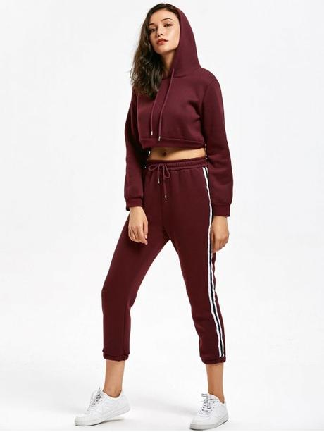 best Casual Cropped Hoodie and Stripes Trim Sports Pants - WINE RED S