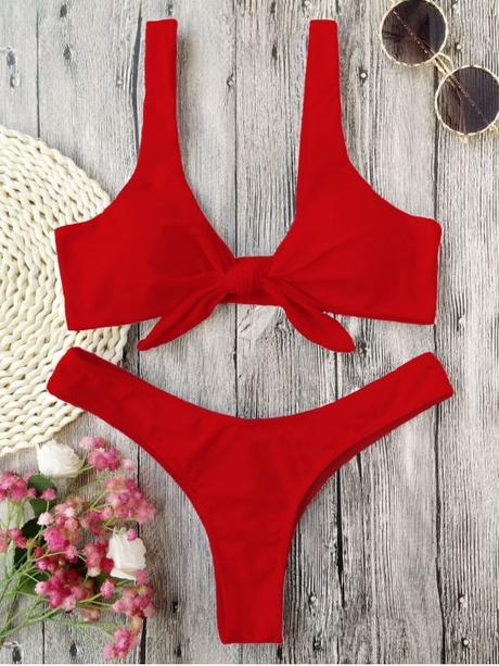 hot Padded Knotted Thong Bikini - RED M