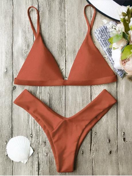 women's Soft Pad Spaghetti Straps Thong Bikini Set - BURNT ORANGE M