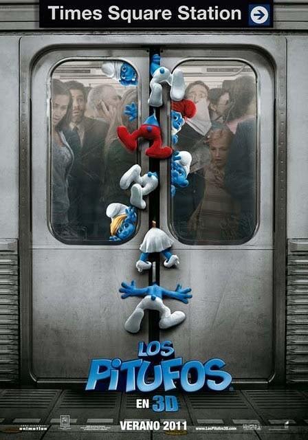 Simpático póster promocional de 'Los Pitufos 3D'