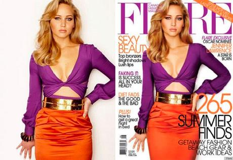 Jennifer Lawrence Fiore Magazine Before and After