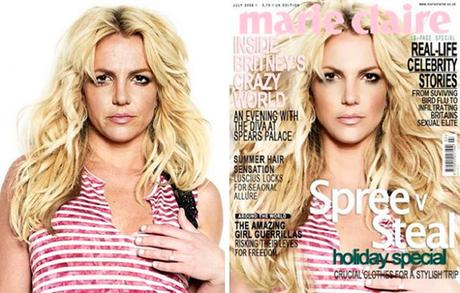 Britney Spears Marie Claire Magazine Before and After