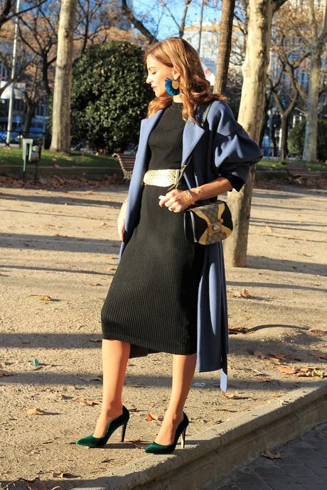 midi black dress