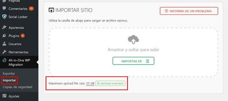 All-in-One WP Migration Full Importa Backups de Hasta 35GB