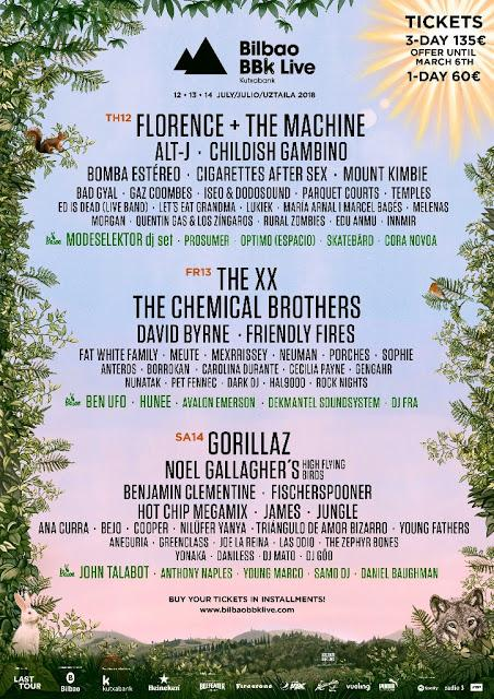 Bilbao BBK Live 2018: Florence + The Machine, Childish Gambino, Cigarettes After Sex, Friendly Fires...