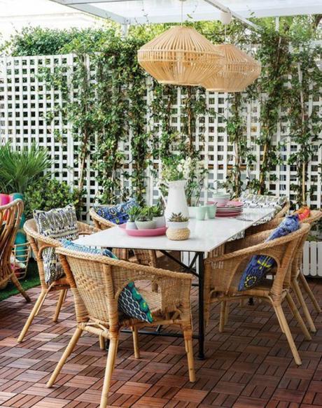 Terraza decorada con muebles textiles y accesorios de ikea paperblog - Casas decoradas con muebles de ikea ...