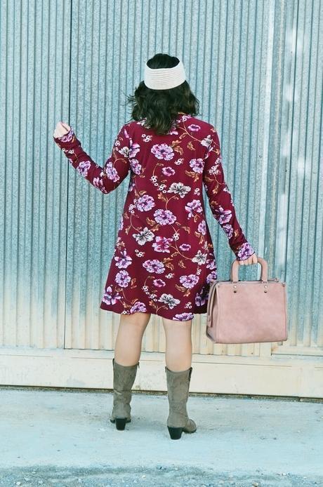 Vestido burdeos estampado floral