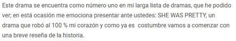 Recomendación de Doramas de Comedia Romántica:  SHE WAS PRETTY,
