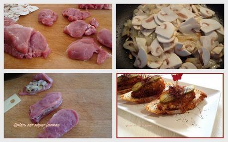 Montadito de solomillo de cerdo, relleno de champiñones, cebolla, y queso