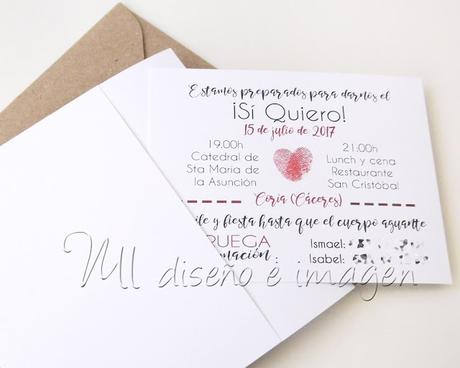 Invitación de boda relieve