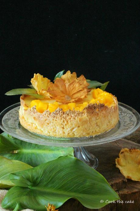 tropical-cheesecake, tarta-de-coco-piña-y-mango, coconut-pineapple-and-mango-cheesecake