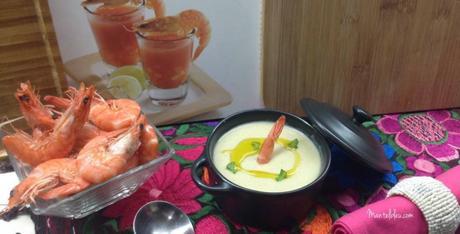 Crema de patata y puerro con bacalao y langostinos
