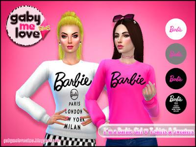 I'am a Barbie Girl ♥ T-Shirts & Sweaters (Sims 4)