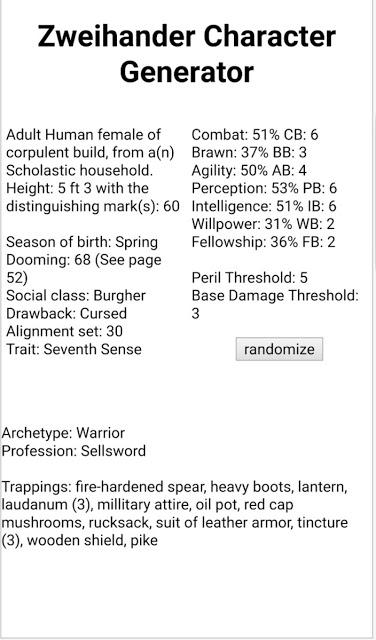 Random Character Generator y mas para Zweihänder RPG - Paperblog