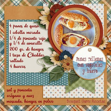 Panes rellenos con vegetales y huevo
