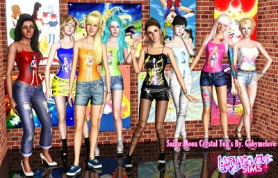 Tops de Sailor Moon Crystal para Los Sims 3