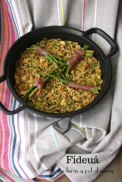 fideuá, verduras, pollo, curry