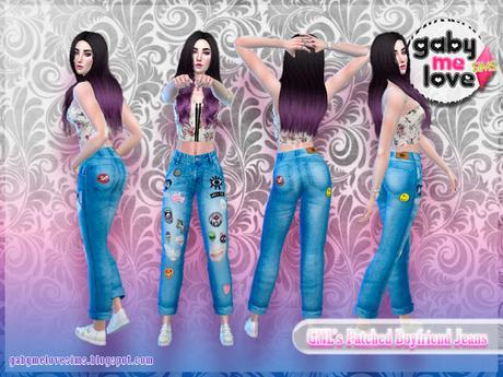 [Gabymelove Sims] GML's Patched Boyfriend Jeans, Estilo 1