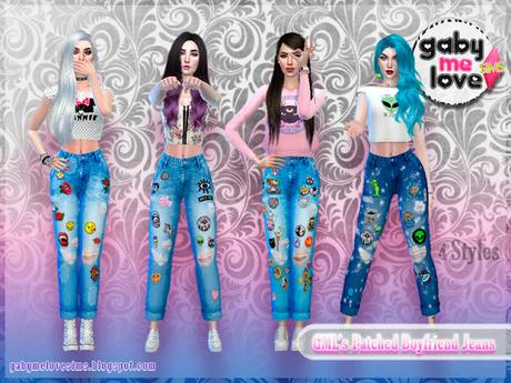 [Gabymelove Sims] GML's Patched Boyfriend Jeans, 4 Styles.