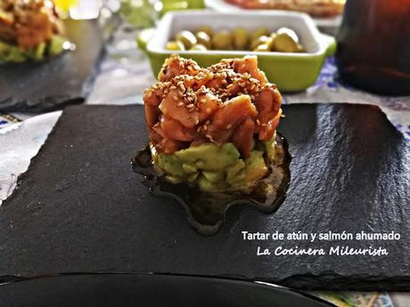 Tartar de atún y salmón ahumado