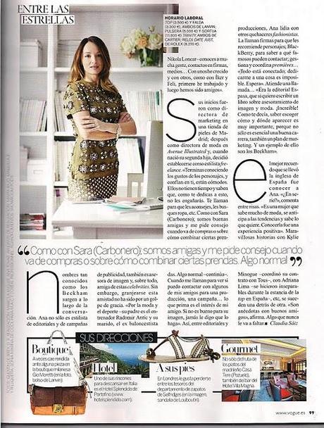 Reportaje a Ana Antic en la revista VOGUE.Conocemos...