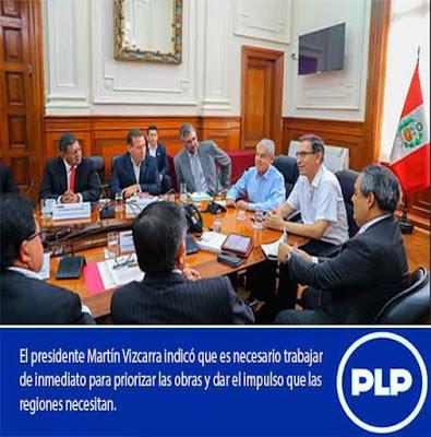 Entre ellos Nelson Chui: PRESIDENTE VIZCARRA RECIBE RESPALDO DE GOBERNADORES…