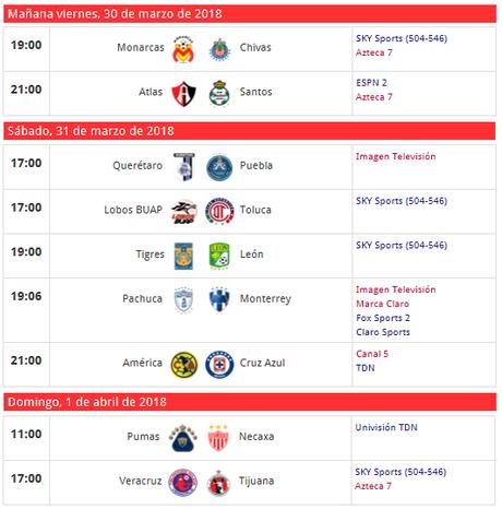 Trasmision de partidos del futbol mexicano jornada 13