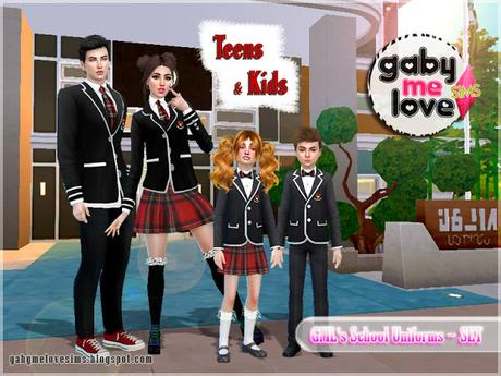 GML's School Uniforms ~ SET (Sims 4). By. Gabymelove