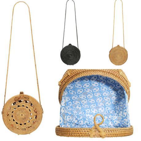 roung bali bag posse bolsos verano redondos rafia ratan bambu