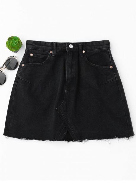 Falda de mezclilla de corte alto de talle alto - Negro M