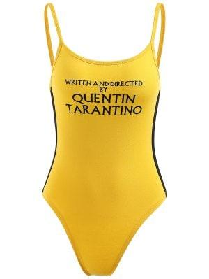 Ribbon Trims Letter Embroidered Bodysuit - Yellow M