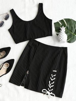 Stripes Top And Lace Up Mini Skirt Set - Black S