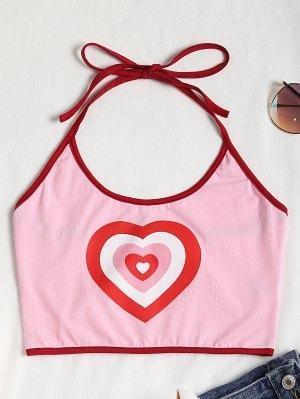 Heart Halter Crop Top - Pink S
