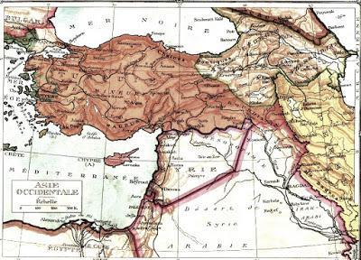 Mapa de Oriente Medio tras la Primera Guerra Mundial