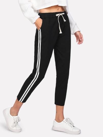 Pantalones de cintura con cordón de lado de rayas en contraste