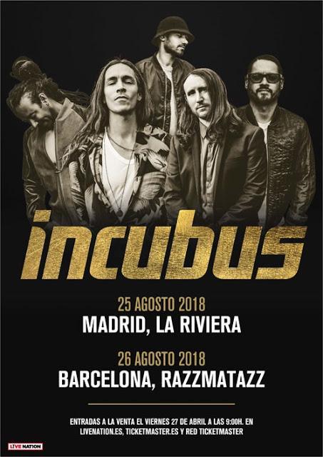 Incubus anuncian conciertos en agosto en Madrid y Barcelona