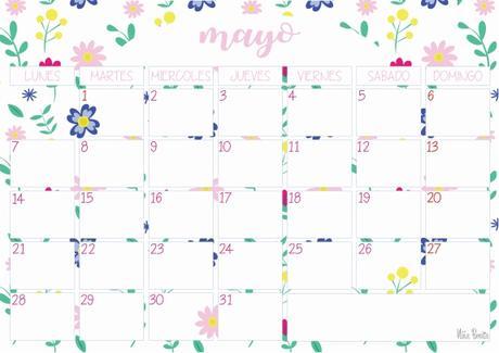 Imprimible: Calendario mayo 2018