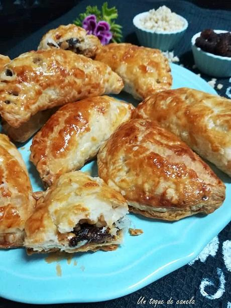almond-puff-pastry-with-raisins-and-honey, hojaldre-de-pasas-y-miel