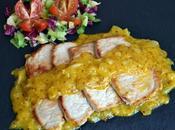 Lomo cerdo salsa mandarina mostaza antigua