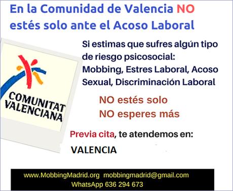 En la Comunidad de Valencia no estes solo ante el acoso laboral