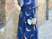 Vestido largo pájaros bordados