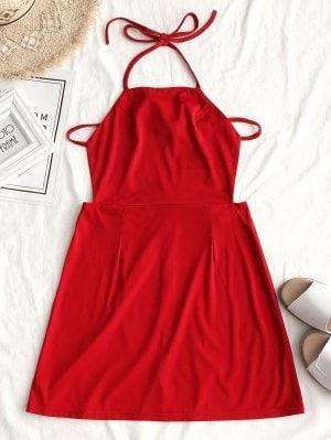 Back Zipper Open Back Mini Dress - Red S